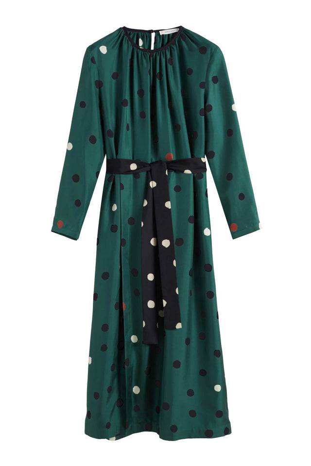 Green Painted Spot Silk Dress image 2