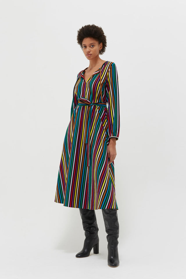 Multicolour Striped Cotton-Jersey Dress image 1