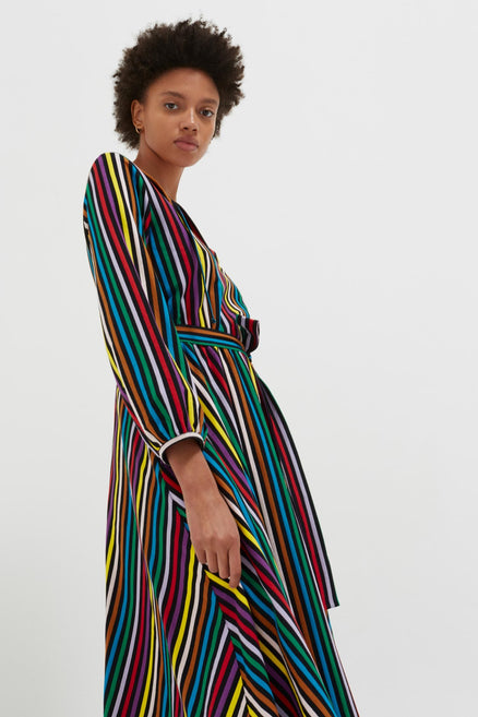 model shot of multicolour-striped-cotton-jersey-dress midi length with blouson sleeves From Chinti & Parker