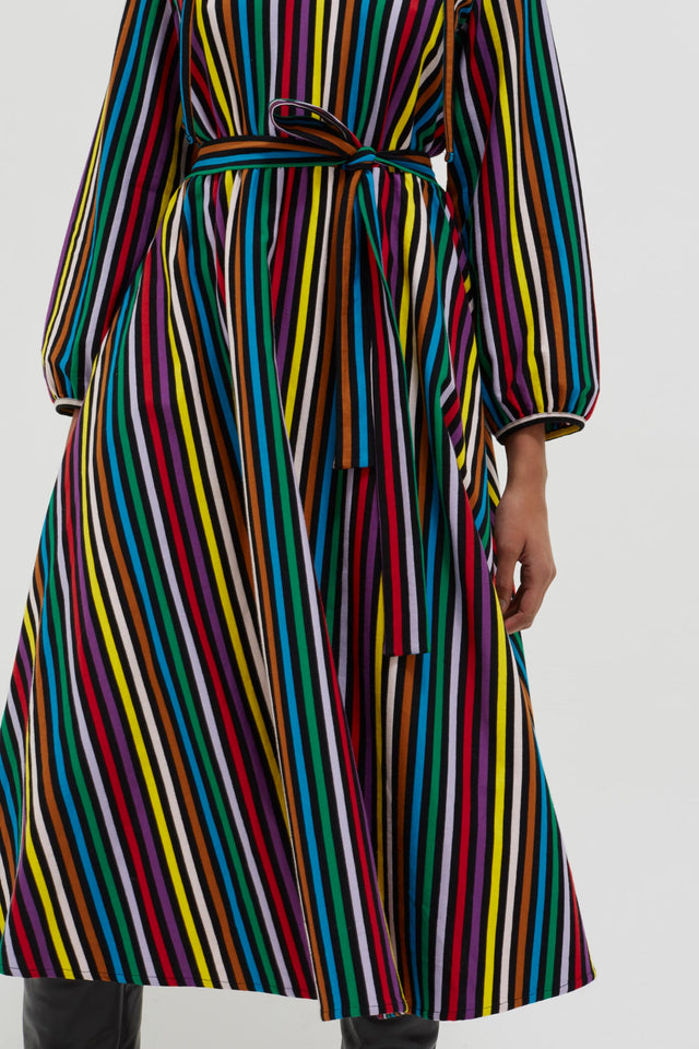 Multicolour Striped Cotton-Jersey Dress image 6