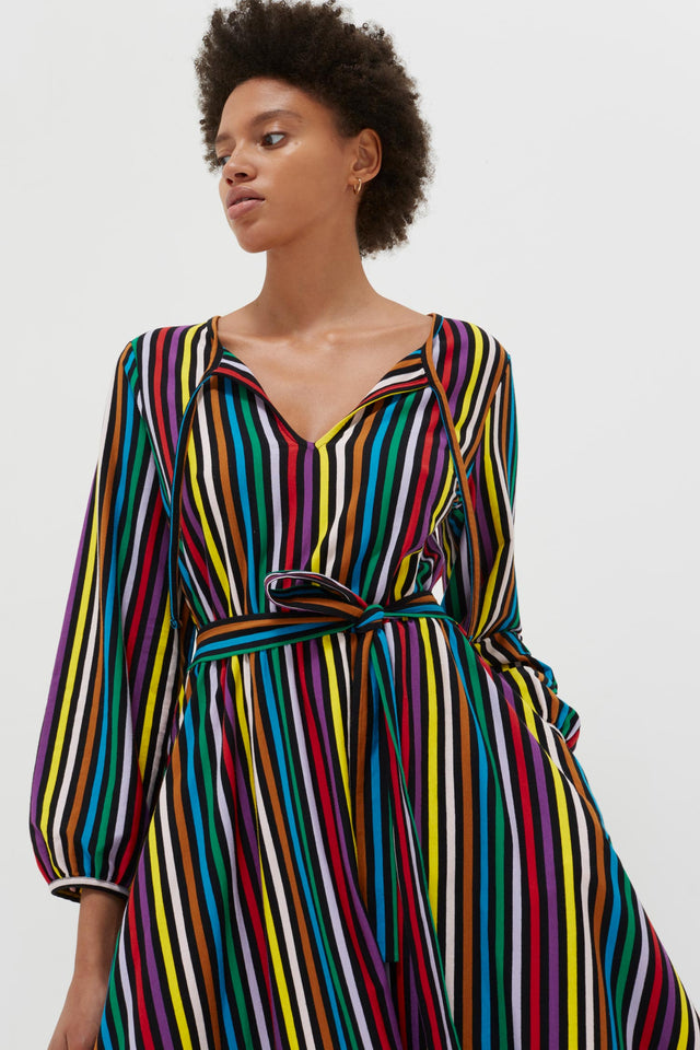 Multicolour Striped Cotton-Jersey Dress image 5