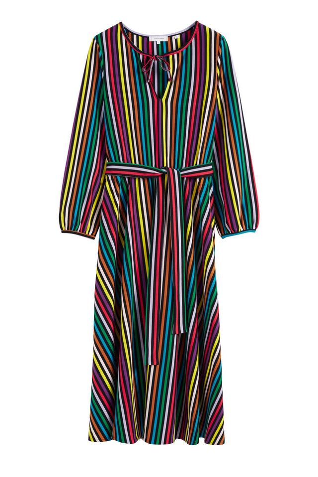 Multicolour Striped Cotton-Jersey Dress image 2