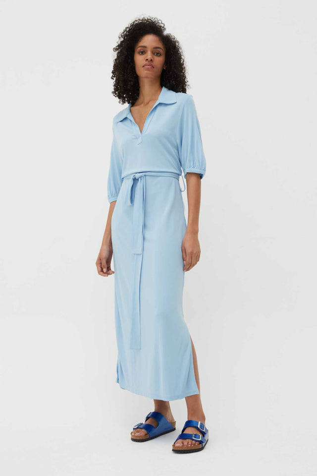 Venetian-Blue Jersey Polo Shirt Dress image 1