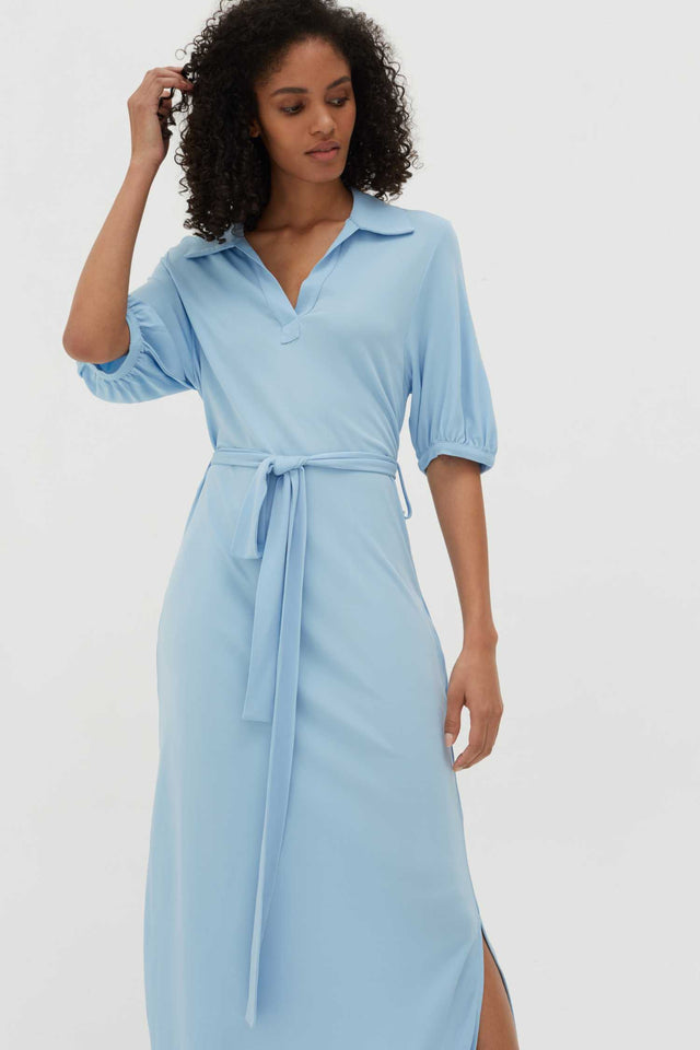 Venetian-Blue Jersey Polo Shirt Dress image 3