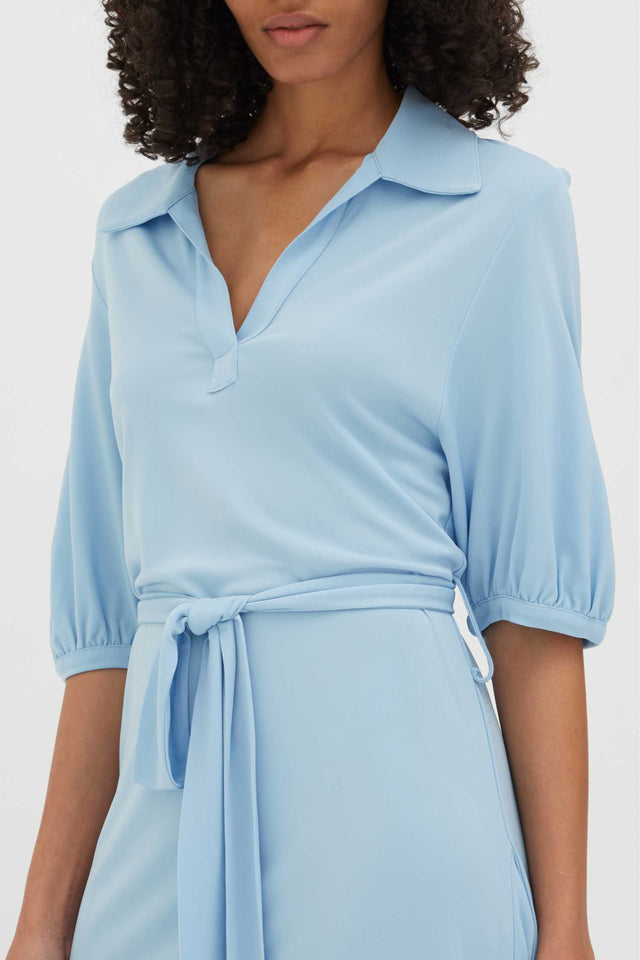 Venetian-Blue Jersey Polo Shirt Dress image 4