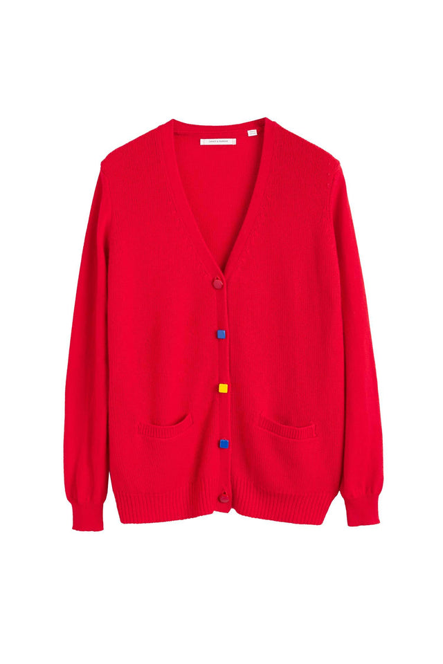 Red Contrast Button Cashmere Cardigan image 2