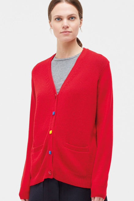 Red Elbow Patch Cashmere Cardigan