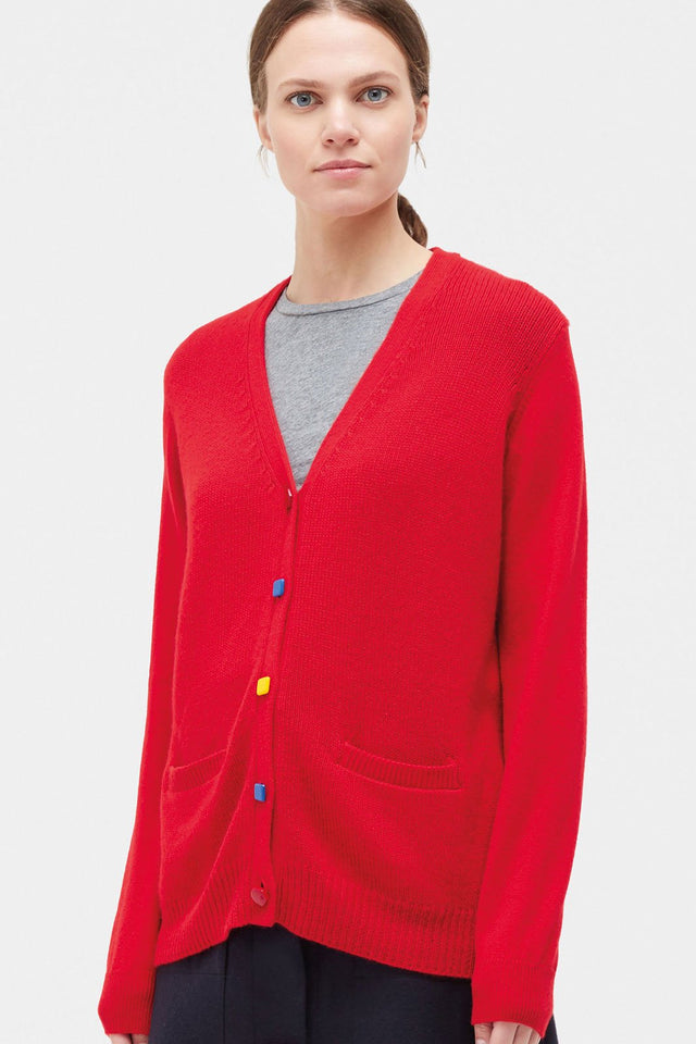 Red Contrast Button Cashmere Cardigan image 1