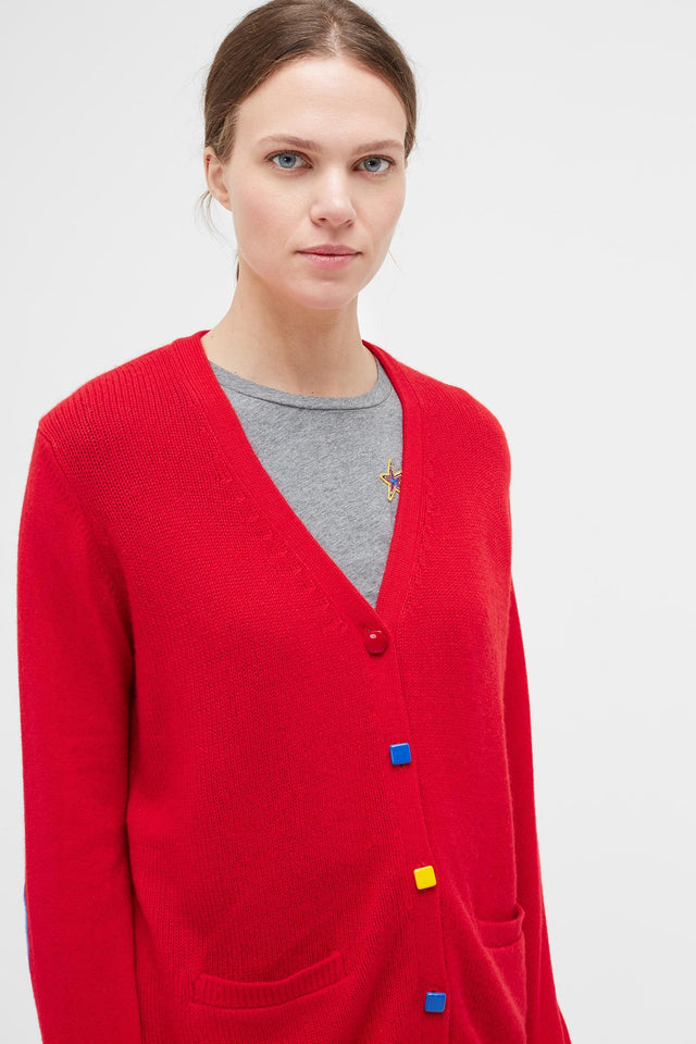 Red Contrast Button Cashmere Cardigan image 3