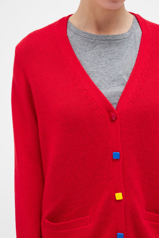 Red Contrast Button Cashmere Cardigan image 4