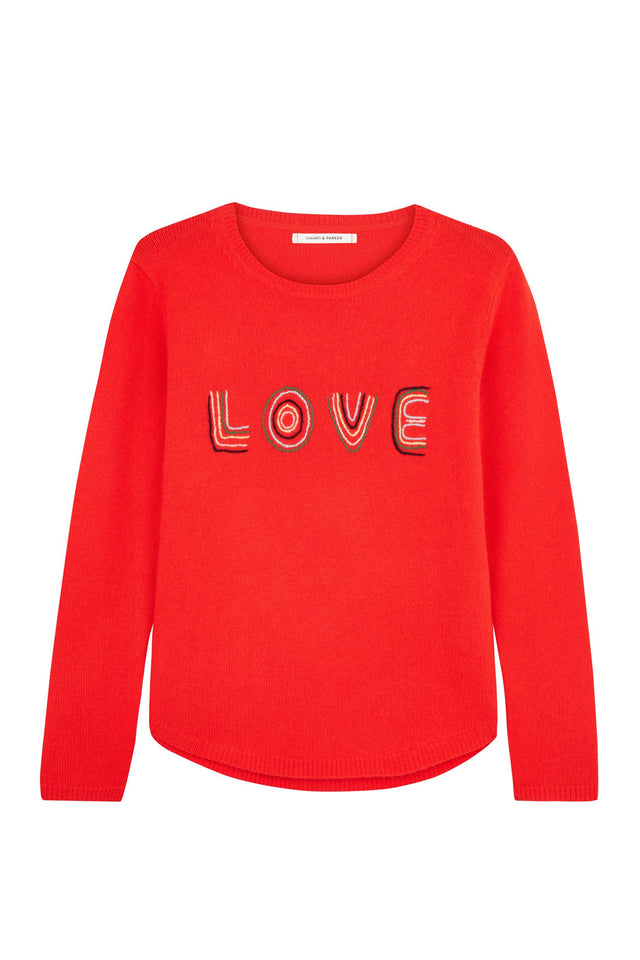 Red Embroidered Love Sweater image 2