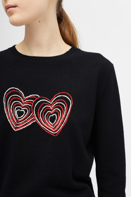 Black Embroidered Twin Heart Sweater