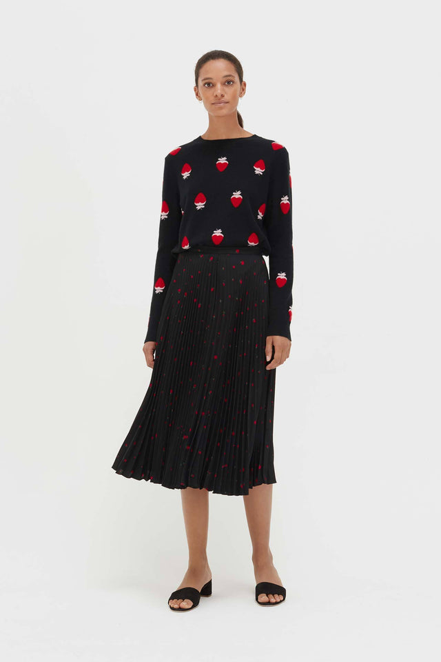 Black Silk Strawberry Fields Skirt image 3