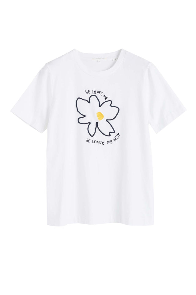 White Cotton Forget Me Not T-Shirt image 2