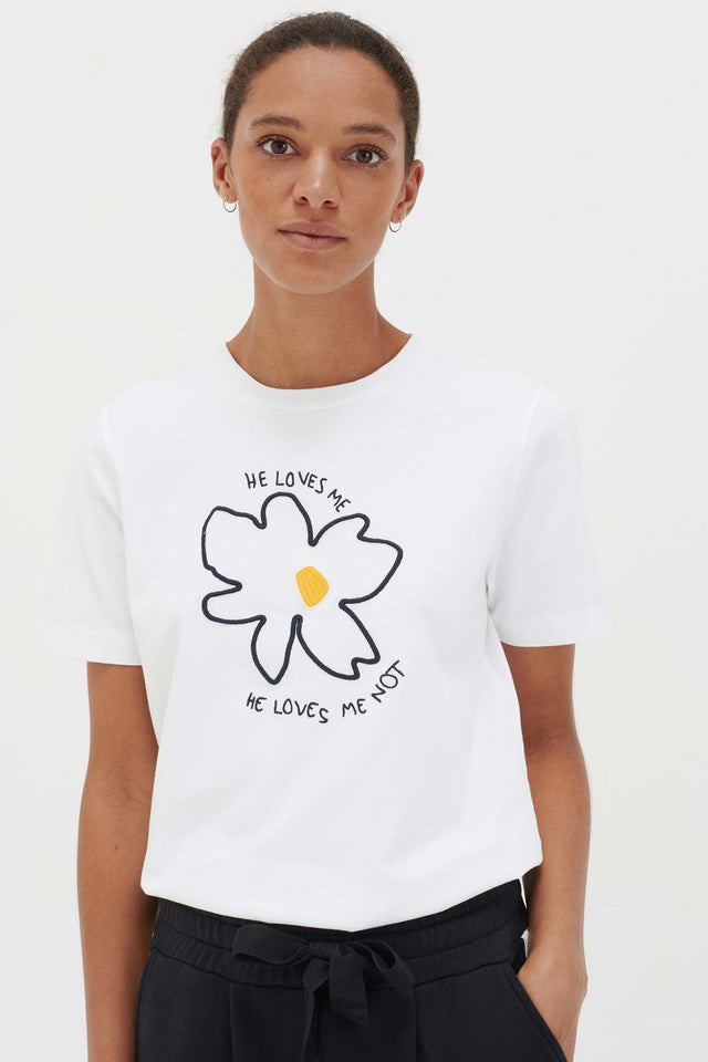 White Cotton Forget Me Not T-Shirt image 1