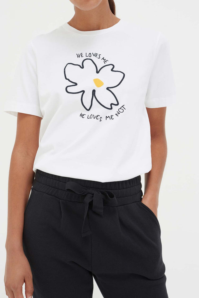 White Cotton Forget Me Not T-Shirt image 3