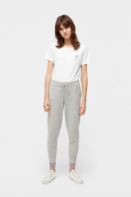 Grey Hibiscus Cashmere Track Pants