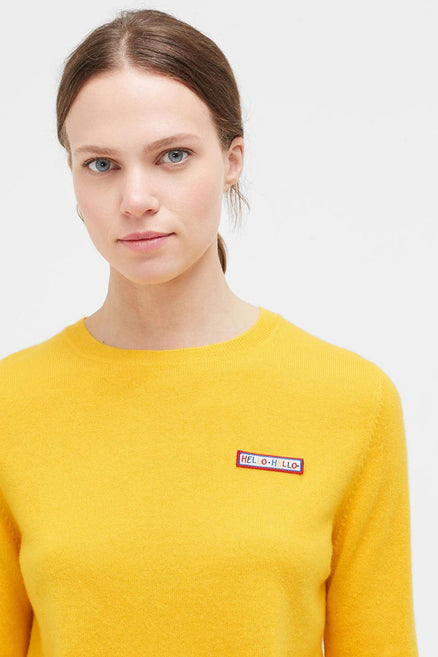 Yellow Hello Badge Cashmere Sweater
