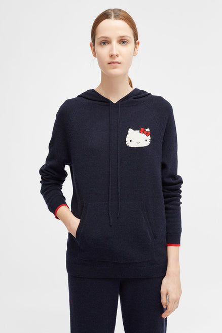 Navy Hello Kitty Cashmere And Wool Hoodie