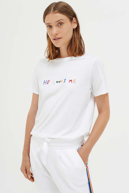 White Cotton He Loves Me T-Shirt