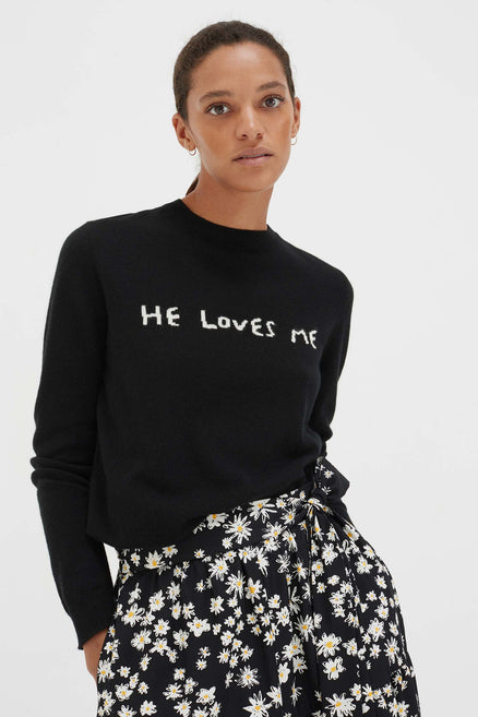 Black Cashmere He Loves Me Sweater
