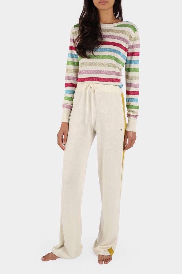 Cream Side-Stripe Cashmere Palazzo Pants image 2