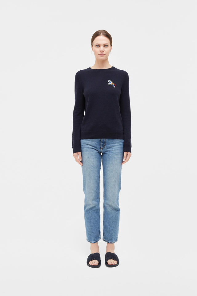 Navy Jewelled Horse Cashmere Sweater image 3