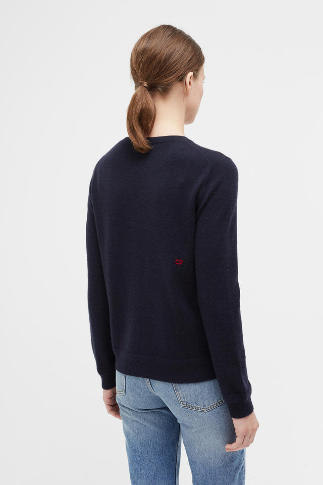 Navy Jewelled Horse Cashmere Sweater image 5
