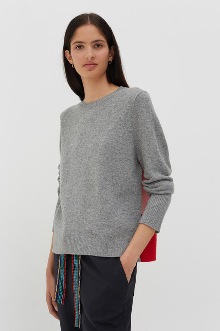 Grey and Pink Ribbed Back Cashmere Sweater