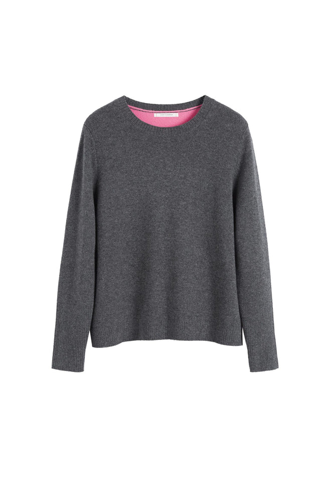 Grey Ribbed Back Cashmere Sweater image 2