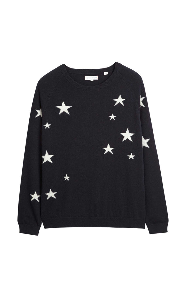 Black Slouchy Star Cashmere Sweater image 2