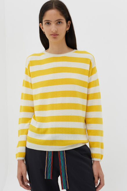Yellow Cashmere Pop Stripe Sweater
