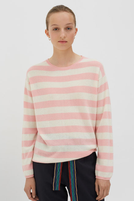 Pink Cashmere Pop Stripe Sweater