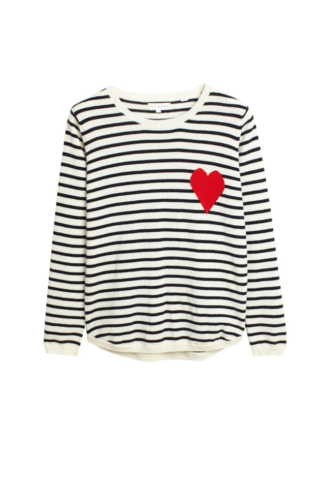 Cream with Navy Striped Heart Cashmere Sweater image 2
