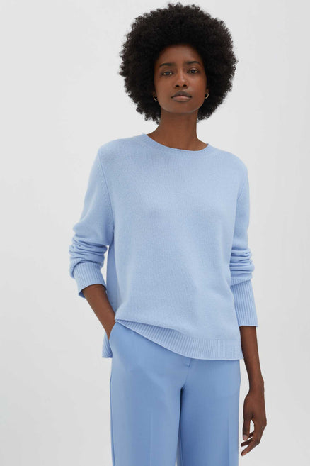 sky blue cashmere boxy sweater Sky blue sweater,100% cashmere knit,looser silhouette,deep ribbed cuffs from Chinti & Parker