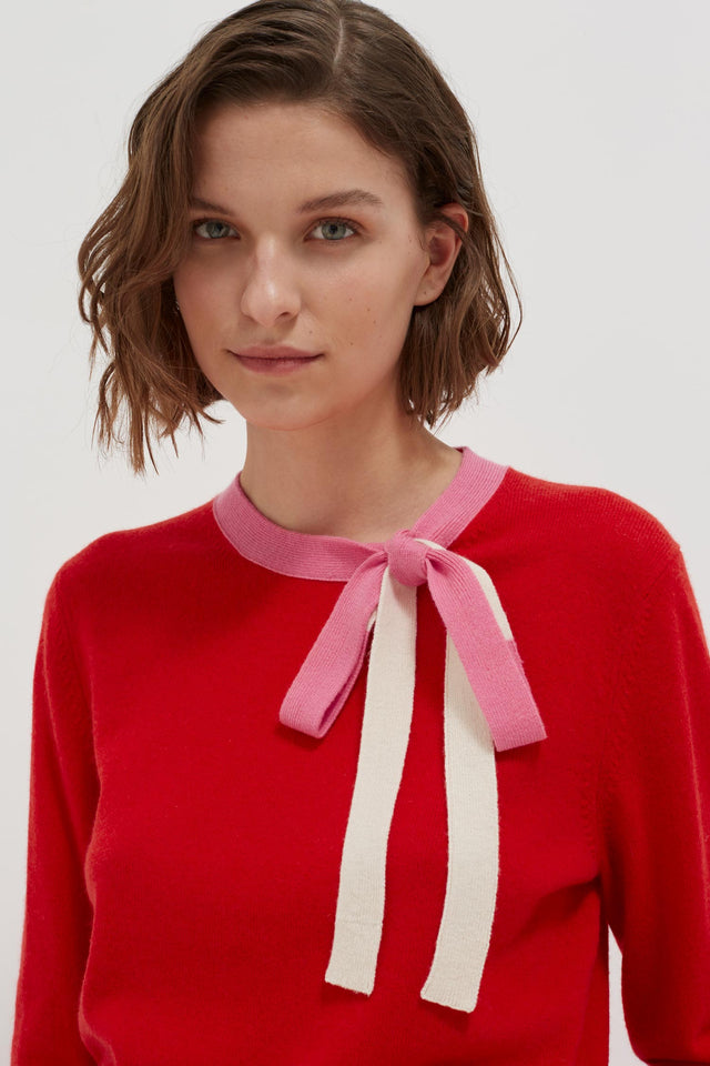 Red Tie Neck Cashmere-Wool Sweater image 5