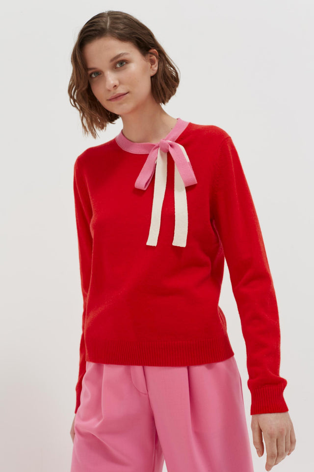 Red Tie Neck Cashmere-Wool Sweater image 1
