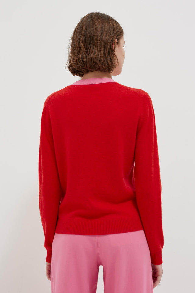 Red Tie Neck Cashmere-Wool Sweater image 4