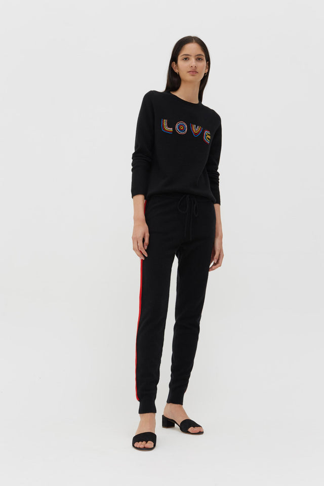 Black Cashmere-Wool Embroidered Love Sweater image 4