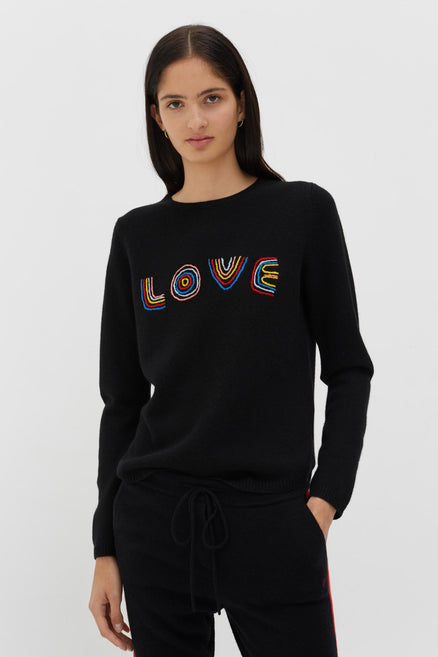 Black Cashmere-Wool Embroidered Love Sweater