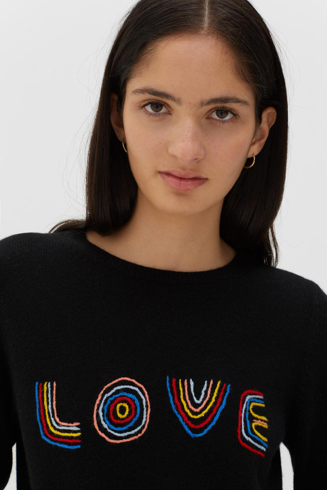 Black Cashmere-Wool Embroidered Love Sweater image 3