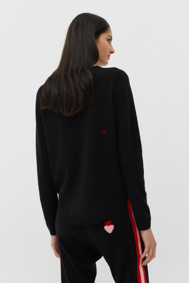 Black Cashmere-Wool Embroidered Love Sweater image 2