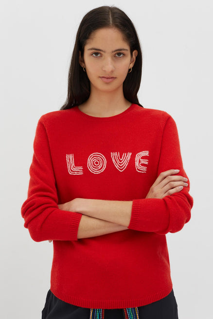 Red Cashmere-Wool Embroidered Love Sweater