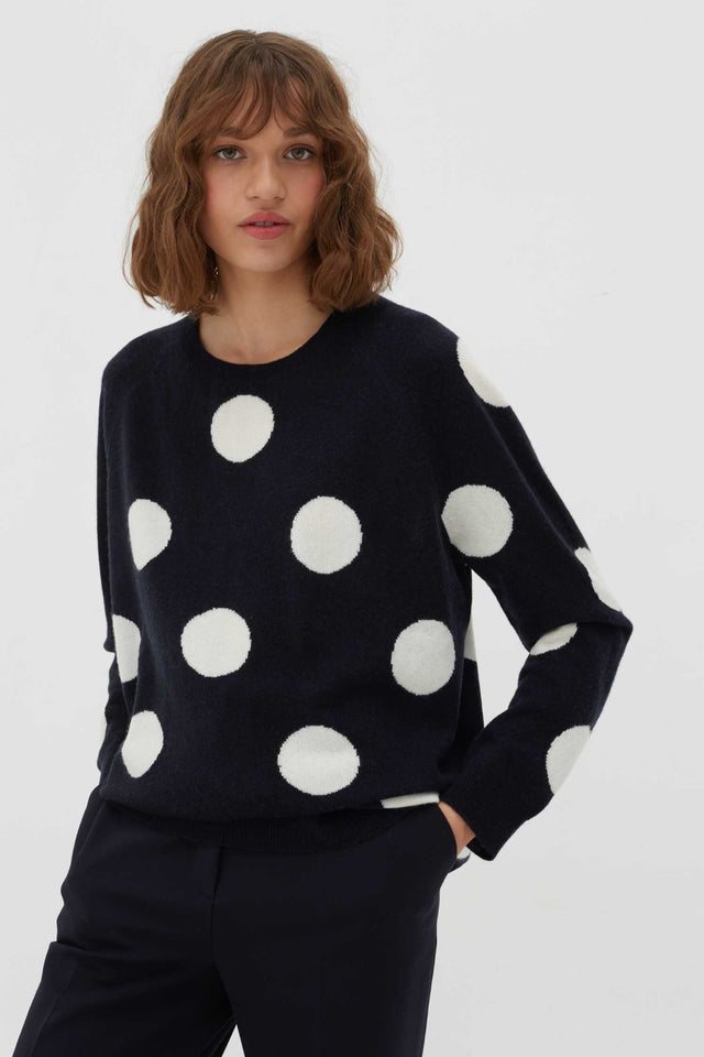 Navy Spot Wool-Cashmere Sweater image 1