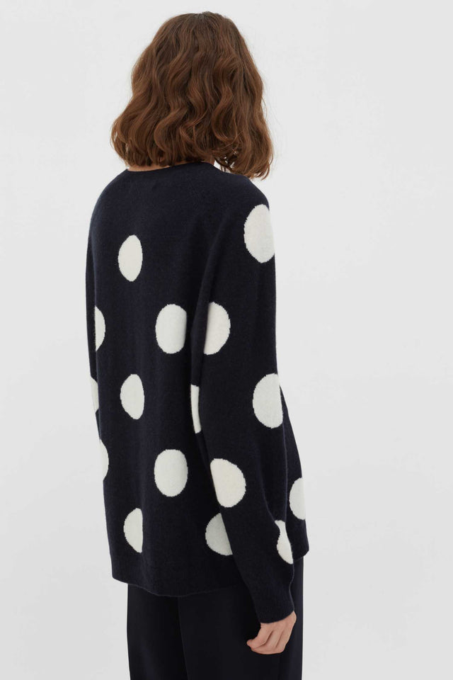 Navy Spot Wool-Cashmere Sweater image 3