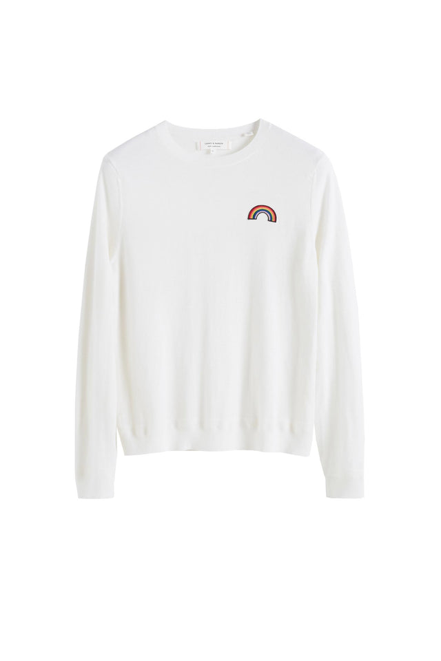 Cream Cashmere Rainbow Badge Sweater image 2