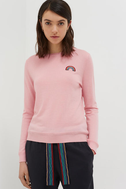 Pink Cashmere Rainbow Badge Sweater
