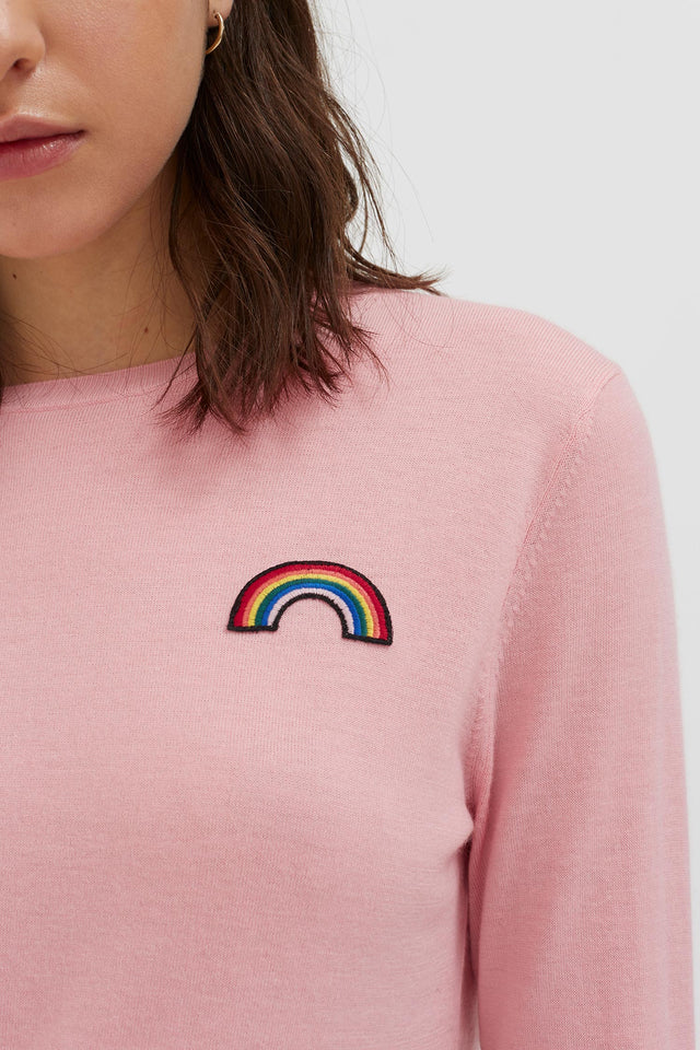 Pink Cashmere Rainbow Badge Sweater image 3