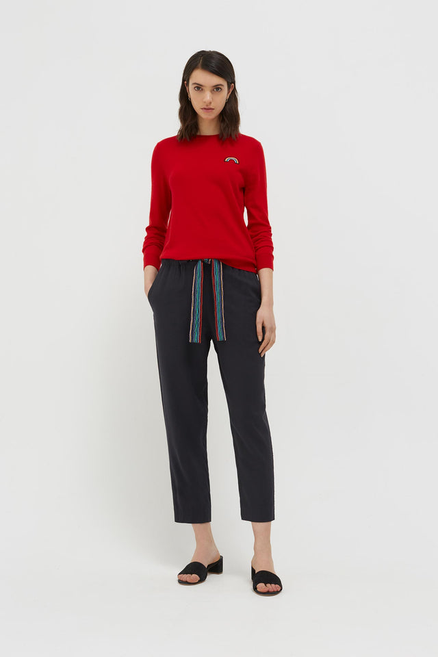 Red Cashmere Rainbow Badge Sweater image 4