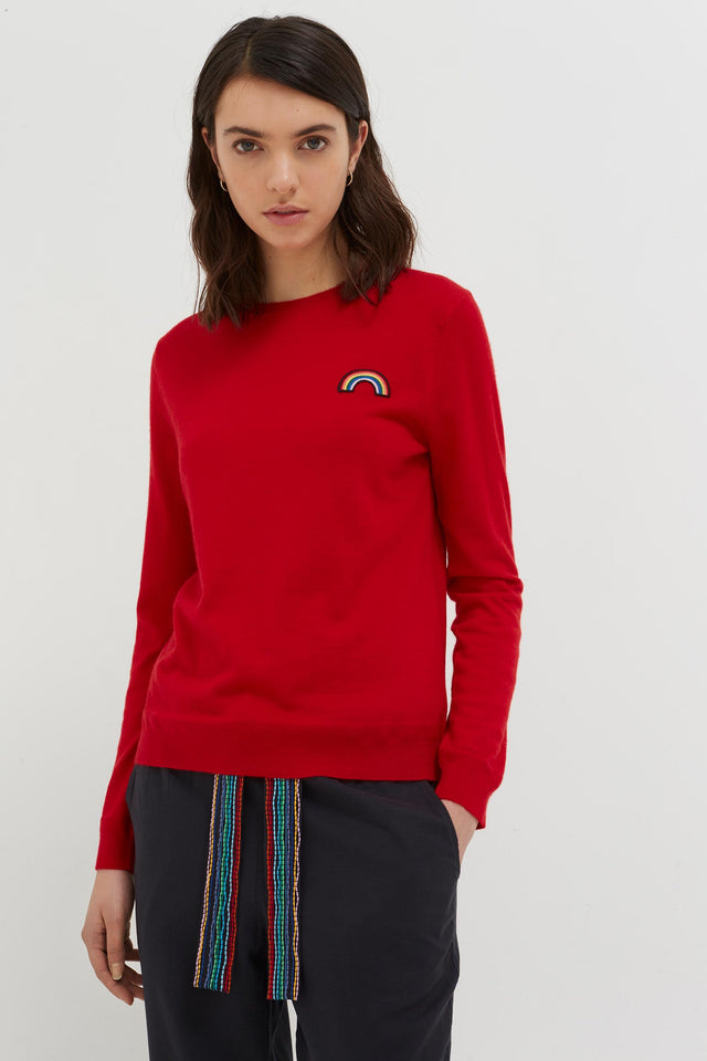 Red Cashmere Rainbow Badge Sweater image 3